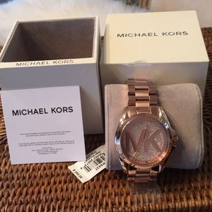 NWT Michael Kors Watch In Rose Gold with Insignia